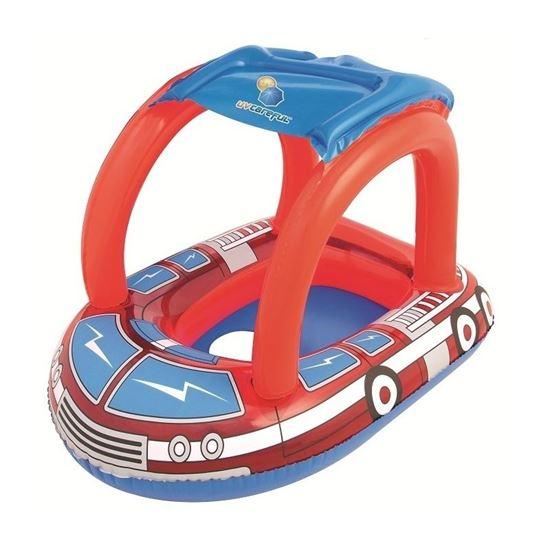 """Круг для плавания с сиденьем и тентом """"Пожарная машина"""", от 1 до 2 лет"""