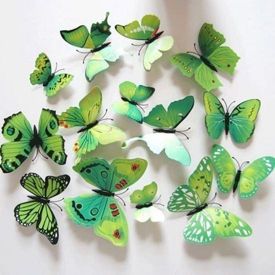 Наклейки-бабочки на стену зелёный