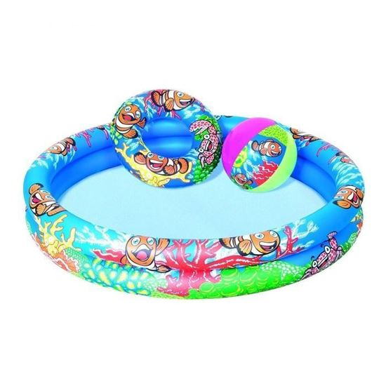 """Пляжный набор Бассейн, круг, мяч """"Рыбки"""" от 2 лет"""